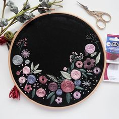 Embroidery Flower I finished this hoop a couple of weeks ago and the lovely Alina at kept it and took some amazing photos! Hand Embroidery Stitches, Embroidery Hoop Art, Hand Embroidery Designs, Ribbon Embroidery, Floral Embroidery, Cross Stitch Embroidery, Machine Embroidery, Sewing Stitches, Creative Embroidery