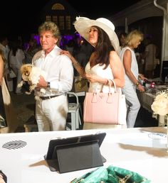 #BELLAWhiteParty2015 and celebrity host, Lisa Vanderpump, with Ken Tod & Giggy the Pom at the PurseN Lounge