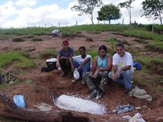 "After excavation and discovery mummification from a reptilian Part -II- prepared for total ""extraction"" from the stone to laboratory.  Left to right: Kleber Varnier with your brothers researcher's from Igeo-UFRJ."