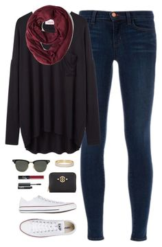 cold day, dark clothes by classically-preppy on Polyvore featuring Organic by John Patrick, J Brand, Converse, Tory Burch, Kate Spade, Ray-Ban and NARS Cosmetics
