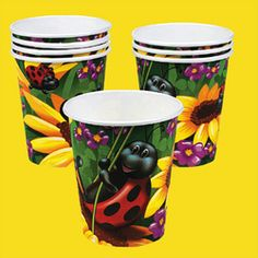 Ladybug Cups (8).  A fun ladybug and flower design makes these cups perfect for serving punch and other drinks at a springtime garden party or backyard birthday celebration. (8 pcs. per set)