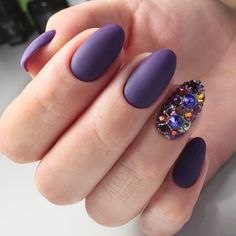 purple-nails-designs-matte-oval-rhinesto