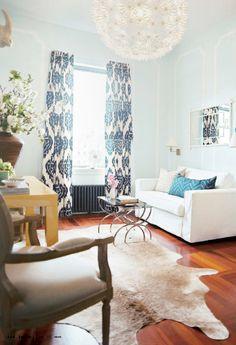kalah blue curtains & animal rug...yaya!