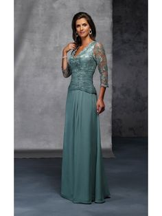 A-line Chiffon V-Neck Natural Waist Floor-Length V-back 3/4 Length Sleeve Appliques Mother Of The Bride Dress