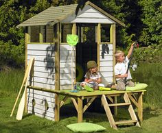 Kids clubhouse, but I'm thinking chicken coop Backyard Play, Backyard For Kids, Backyard Patio, Backyard Ideas, Outdoor Play Spaces, Outdoor Fun, Outdoor Decor, Cubby Houses, Play Houses