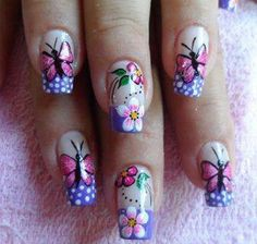Ladies' nails have always been an important dimension of beauty and fashion. You can also have so many choice for your nail designs. Star nail art, Hello Kitty nail art, zebra nail art, feather nail designs are a few examples among the various themes. Pretty Nail Designs, Simple Nail Art Designs, Nail Designs Spring, Fancy Nails, Pretty Nails, Butterfly Nail Art, Nail Photos, Green Nails, Flower Nails