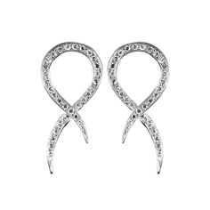 Sterling Silver Serpent Earrings w/ White Diamonds