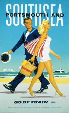 Poster produced in 1962 for British Railways BR Southern Region SR to promote rail services to Portsmouth and Southsea in Hampshire It features a Posters Uk, Train Posters, Beach Posters, Railway Posters, Poster Ads, Illustrations And Posters, Poster City, Pub Vintage, Vintage Poster