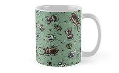 I love to draw patterns traditionally - they get a rustic feel this way! #Beetle #pattern #mug by #MonoMano #redbubble #custom #art #artshop #veganartist #drawing #artwork #cool #apparel #home #decor #design #artist #unique #realistic  #insect #bug #stag