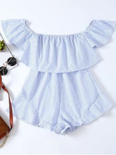 402d24a000a Frilly Off The Shoulder Beach Romper - BLUE AND WHITE M  zaful  girlboss