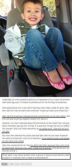 Sam and his shoes. His mom is fantastic. Hate is taught.