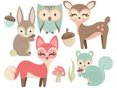 Woodland Animals Clipart - Fox, Owl, Deer, Bunny, Squirrel