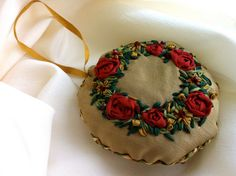 Hand Embroidered Christmas Wreath by Ornament, Silk RIbbon Embroidery by BeanTown Embroidery