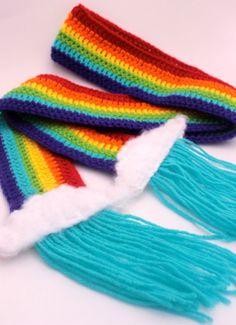Crochet Rainbow Scarf with Fuzzy Clouds