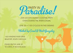 Start off the summer season with a bang and order these tropical party invitations for your next get-together! Luau Theme Party, Party Themes, Luau Invitations, Cocktail Party Invitation, Hawaiian Theme, Mom Birthday, Beach Party, Announcement, Destination Wedding
