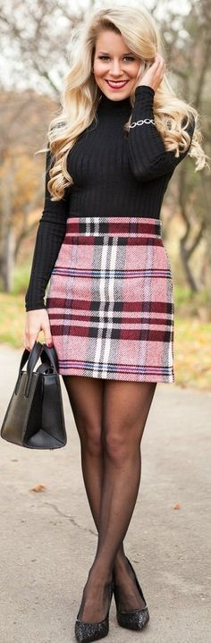 red plaid a line skirt black turtleneck sweater black tights black heels pumps winter work wear