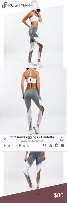 NWT FRONT ROW GRAY LEGGING (matching top available Front Row Leggings Regular price$ 108.00  Front Row at the show or in class Wherever you go, you're in the spotlight in these babies    Compression fabric made with moisture management nylon keeps you dry & supported. High rise just like our heels & our standards  Front pocket because you need a place to stash your cash Hey haute stuff! Sweetheart seams compliment your assets Front Row leggings are perfect for:  Spin Weight training Pilates…