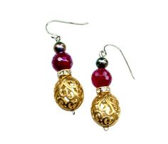 Checkout this amazing deal gold filagree and magenta tigerseye earrings,$22