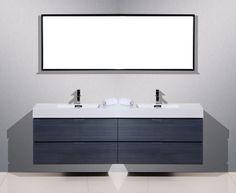 "Bliss 80"" High Gloss Gray Oak Wall Mount Double Sink Modern Bathroom Vanity - Los Angeles Vanity"