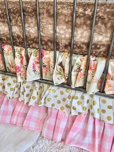 Boho Floral, Gold Dot, Pink Petal Ruffled Crib Skirts, 3 or 4 Sided Crib Skirts, Ritzy Baby Crib Skirts