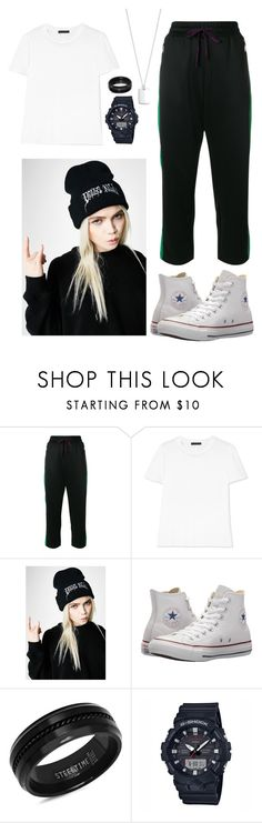 """""""Today's Mood"""" by ungelicaa ❤ liked on Polyvore featuring Diesel, The Row, Current Mood, Converse, SteelTime, Casio and Lauren Ralph Lauren"""
