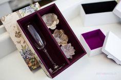 Caixa de madeira para espumante baby, taça ou bombons revestimento luxo com veludo interno em 07 cores disponíveis. (Não acompanha produtos internos)