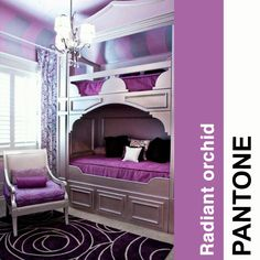 Pantone radiant orchid in the home.
