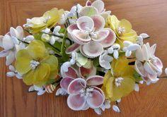 VINTAGE FOLK ART SEASHELL FLOWER/FLORAL LARGE ARRANGEMENT, VGC | eBay