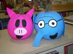 Gerald and Piggie pumpkins! Made these for our Halloween library display last year :)