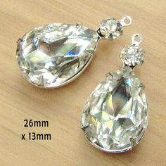 Classic bridal and prom earring jewels - crystal teardrops in silver, gunmetal or brass settings $4.79/pair