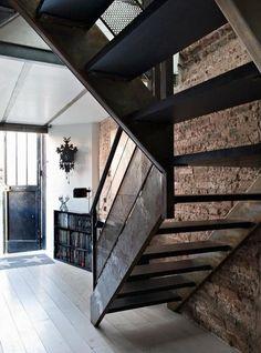 Stairway, stairs, brick wall