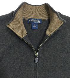 Brooks Brothers Sweater Vest, Mens XL, Full Zipper, Extra Fine Italian Merino Wool, Brown, So Soft! #BrooksBrothers #Vest