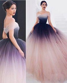Off-The-Shoulder ombre prom dresses unique prom dress long evening dresses Ombre Prom Dresses, Unique Prom Dresses, Quinceanera Dresses, Elegant Dresses, Pretty Dresses, Beautiful Dresses, Ombre Wedding Dress, Royal Dresses, Quince Dresses