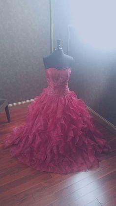 Dark Red Wedding Dress with Organza Ruffles by WeddingDressFantasy http://www.weddingdressfantasy.com