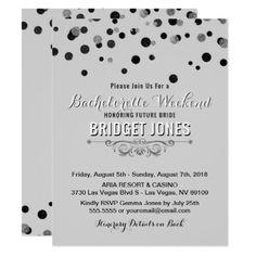 #bridal #shower #invitations - #Bachelorette Weekend Itinerary Black Silver Gray Card