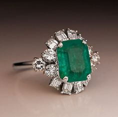 Vintage 4.62 Ct Emerald Diamond Platinum Ring - Antique Jewelry | Vintage Rings | Faberge Eggs