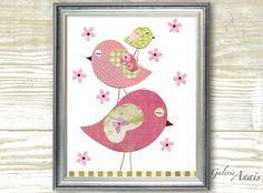 Baby Girl nursery decor Bird Nursery art Kids Wall Art Baby
