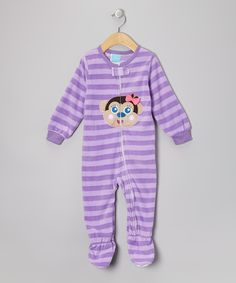 Take a look at this Purple Monkey Fleece Footie - Infant & Toddler on zulily today!
