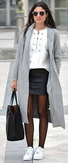 6ef961372b5b Federica L. + ultra stylish + striking lace up sweater from Shein + leather  mini skirt + marl grey maxi coat + pair of simple white sneakers Outfit   Shein.