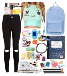 """""""Pokémon in school"""" by weightlessdreams ❤ liked on Polyvore featuring Herschel Supply Co., New Look, Converse, Samsung, Reebok, Benefit, Eos, Mead, Demeter Fragrance Library and NARS Cosmetics"""