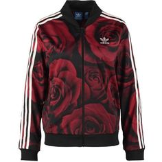 adidas Originals RED CLASH Summer jacket (€46) ❤ liked on Polyvore featuring outerwear, jackets, red, print jacket, pocket jacket, collar jacket, long sleeve jacket and flower print jacket