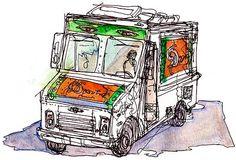 Shiho Nakaza Illustration and Sketch Blog: Los Angeles Food Truck: Dosa Truck