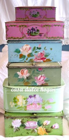 Romantic Shabby Cottage Stack of Rose Containers