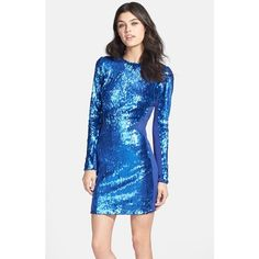 Women's Dress the Population 'Ryan' Sequin Body-Con Dress ($185) ❤ liked on Polyvore featuring dresses, cobalt, long blue dress, long bodycon dress, long sequin dress, blue bodycon dress and shiny dress