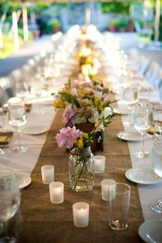 Summer Centerpiece Outdoor Reception Place Settings Wedding Flowers Photos & Pictures - WeddingWire.com