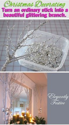 Holiday Decorating Video: Making Sparkly Branches Smart Health Talk Pick: Low cost way to make something that can add something special to a room. Use a small branch, hang on wall and add other decorations to hang on it such as garland or small bulbs. Diy Christmas Tree, Christmas Projects, All Things Christmas, Winter Christmas, Christmas Holidays, Christmas Ornaments, Outdoor Christmas, Christmas Room, Christmas Quotes
