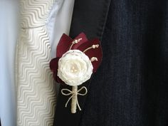 Marsala Maroon Ivory Mens Wedding Boutonnieres Groom by MBrides