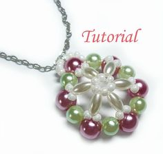 Beading Tutorial  Beaded Snowflake Poinsettia Pendant by Splendere, $4.00