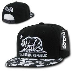 new styles ef4c3 2ebf6 CUGLOG California Republic Floral Retro Flat BIll Snapback Hat Cap Cali  Bear  Cuglog  BaseballCap