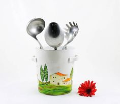 Hand painted utensil holder  Village Provencal collection